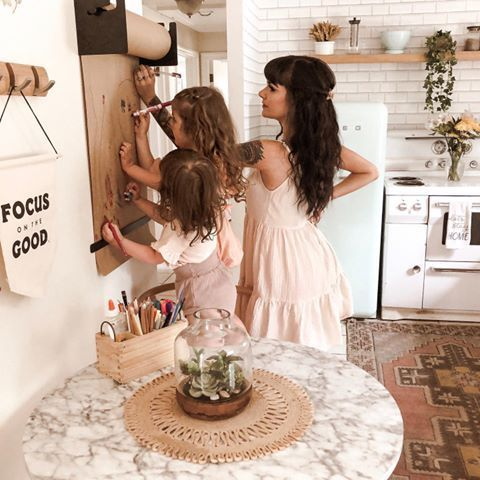 kraft paper studio roller in the kitchen with mom and daughters writing on it