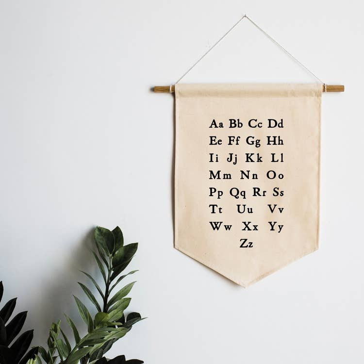 canvas wall banner for playroom or kids room with the alphabet