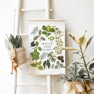 water your plants screen printed canvas banner