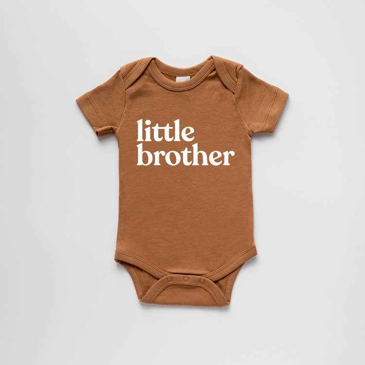 new baby gift organic cotton onesie with little brother screen print on camel coloured onesie