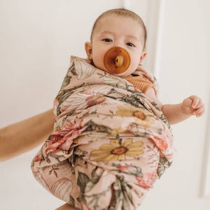 pink floral swaddle blanket for baby girl