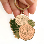 Load image into Gallery viewer, gold enamel keychain with ranunculus flowers and green leaves