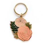 Load image into Gallery viewer, Ranunculus Enamel Keychain