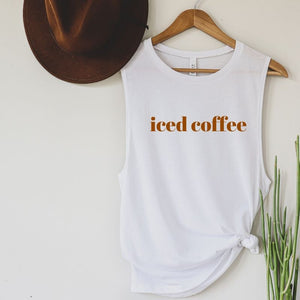 Iced Coffee High Neck Tank - White