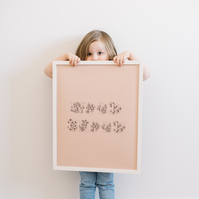 floral wild child kids room print