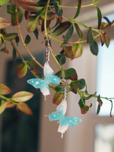 Aquamarine Butterfly Chain Earrings