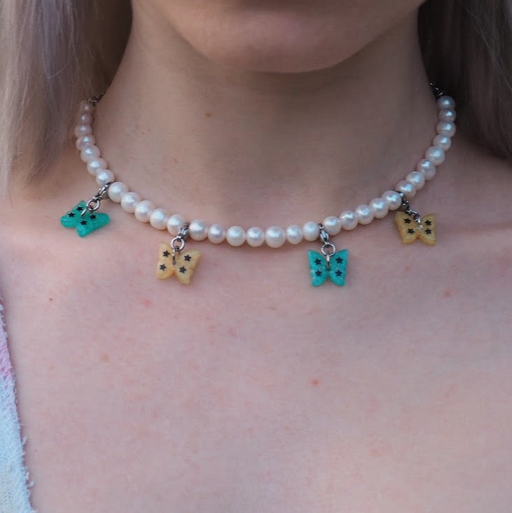 Pastel Butterfly Pearl Necklace