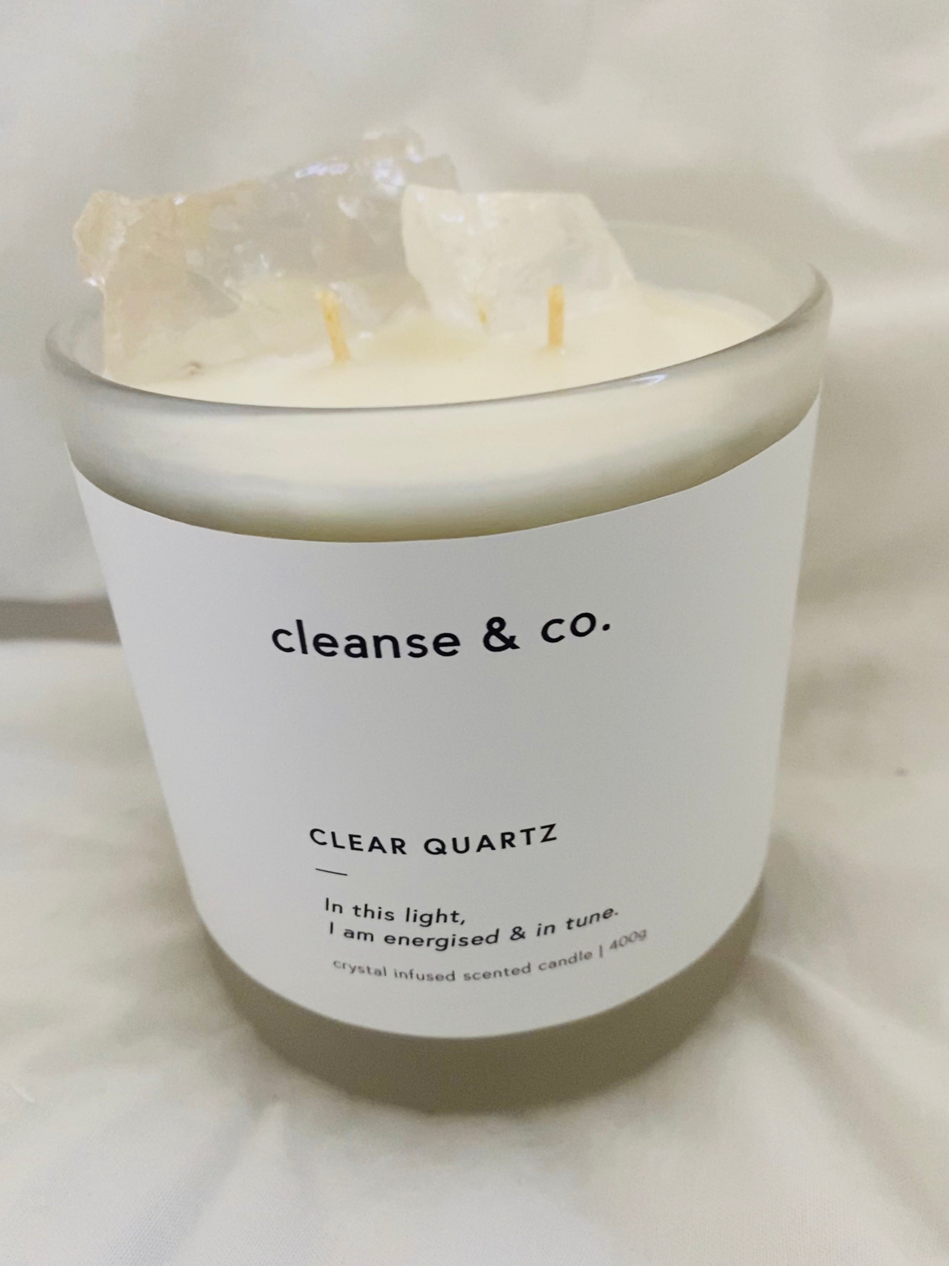 Cleanse & co crystal infused candle.
