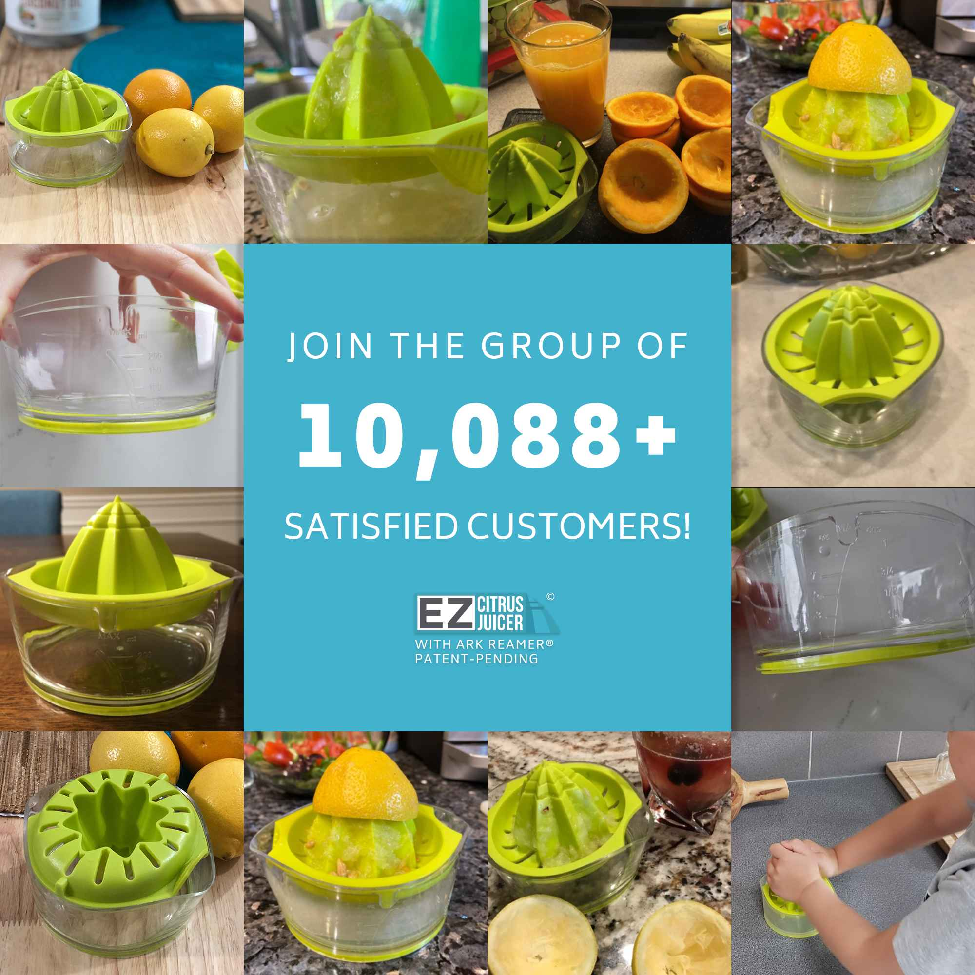 thousands of satisfied EZ Citrus Juicer customers, easy healthy lemon orange citrus juicing
