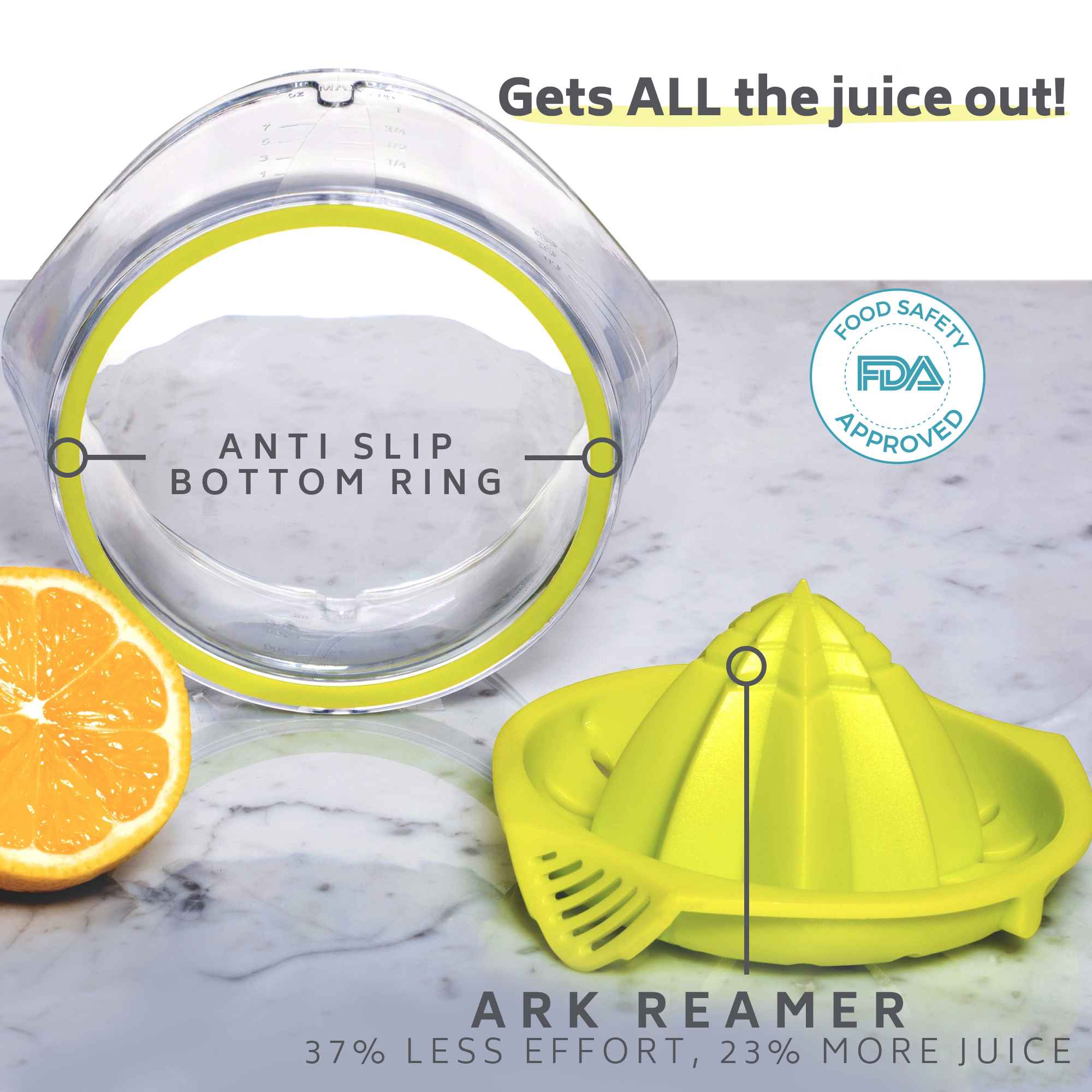 Gets all the juice out, ARK reamer juicer, lemon reamer, citrus reamer, more juice less effort, SAFE FDA approved citrus lemon juicer