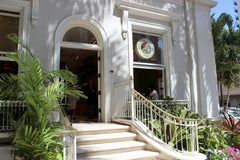 The outside of our farm to cup Kona coffee experience cafe in the Moana Surfrider, Honolulu, Hawaii