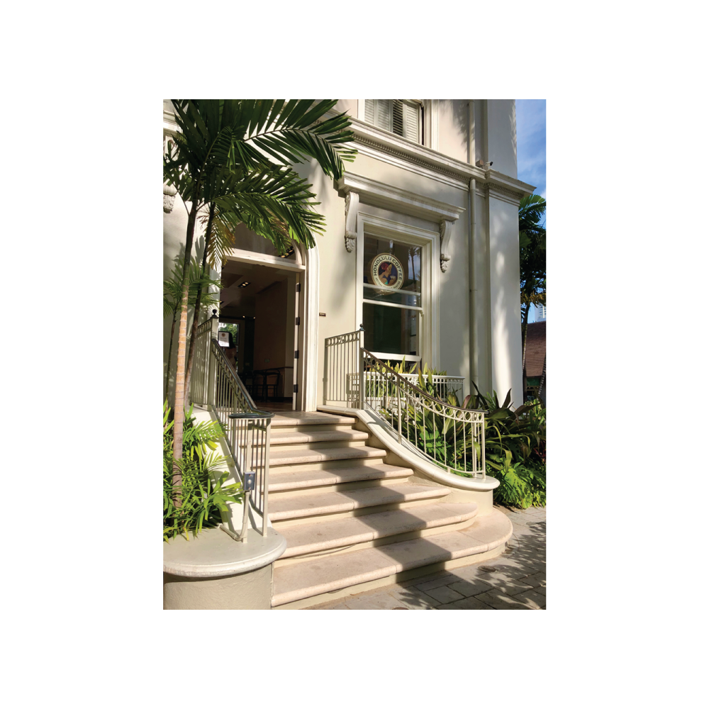 The front steps of Honolulu Coffee at the Moana Surfrider in Waikiki, Hawaii