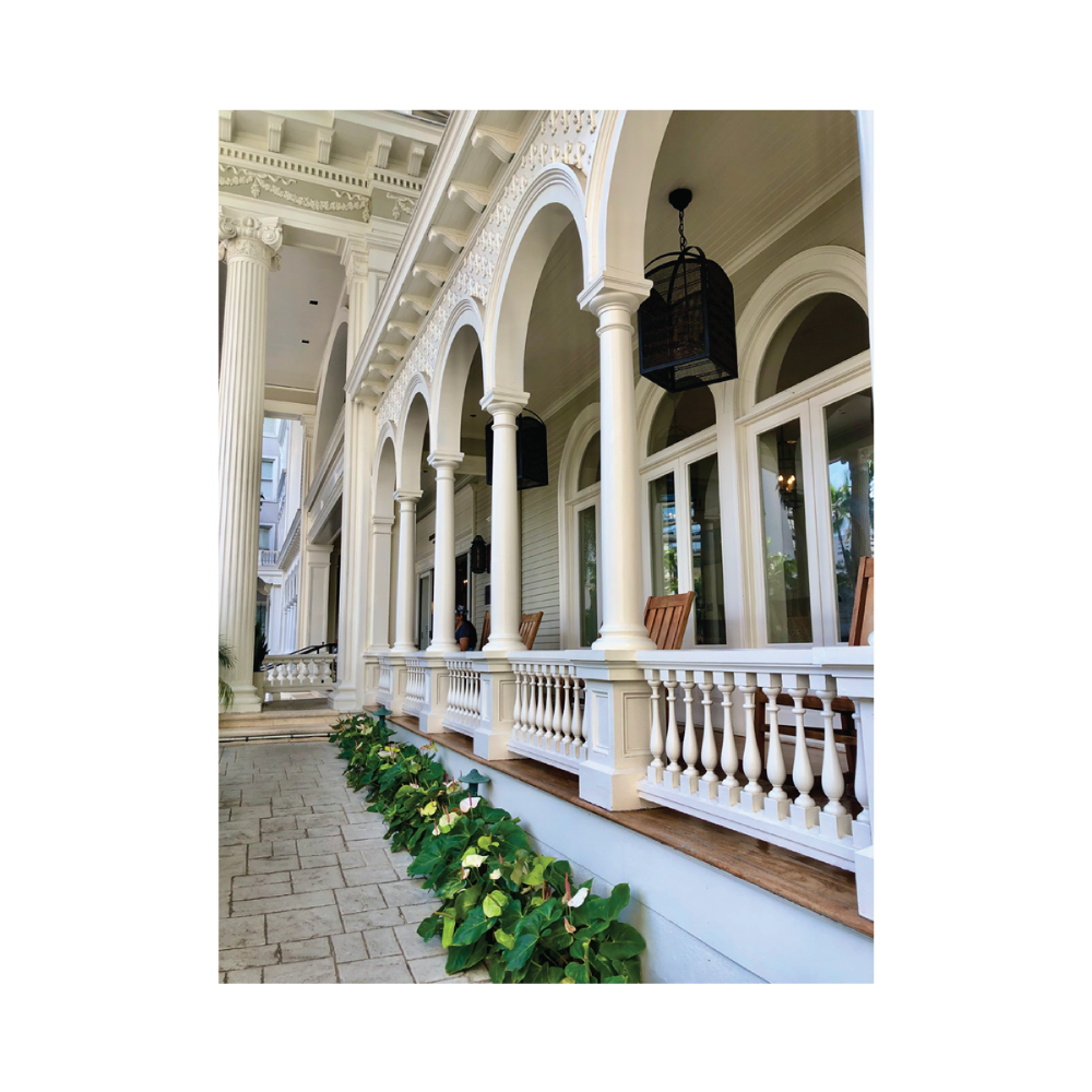 The front steps of the Moana Surfrider Hotel in Waikiki, Hawaii