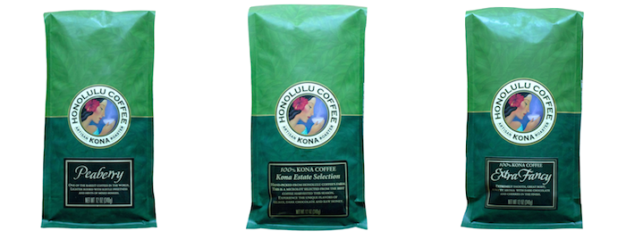 3 12oz Green Bags of Our Pure Kona Coffee