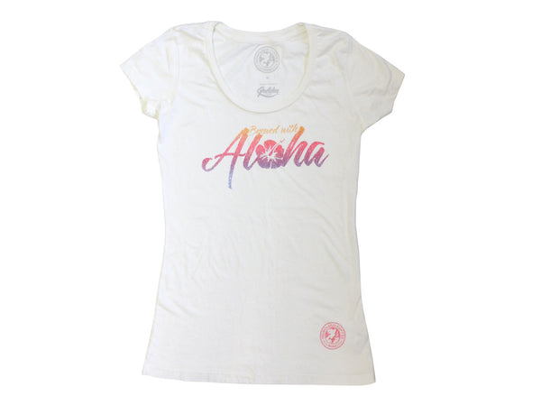 Womens Brewed with Aloha T-Shirt Vintage White