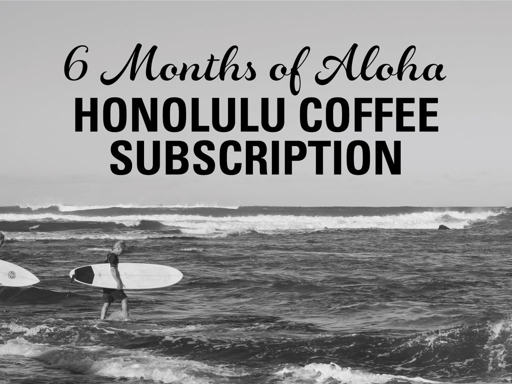 Black and white photo of ocean and surfer - 6 Months of Aloha Gift Coffee and Kona Subscriptions - Give the gift of Kona Coffee for 6 Months! 2 12oz Bags of Kona Coffee Blend