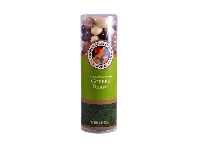 A tube of our mixed chocolate covered coffee beans in a tube