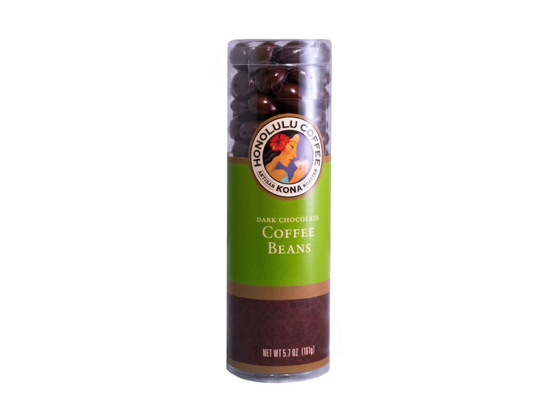 A tube of our dark chocolate covered coffee beans in a tube
