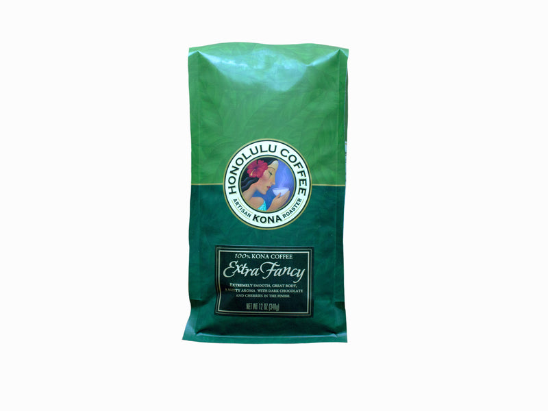 12oz Green Bag of Extra Fancy Kona Coffee made with 100% farm grown Kona coffee