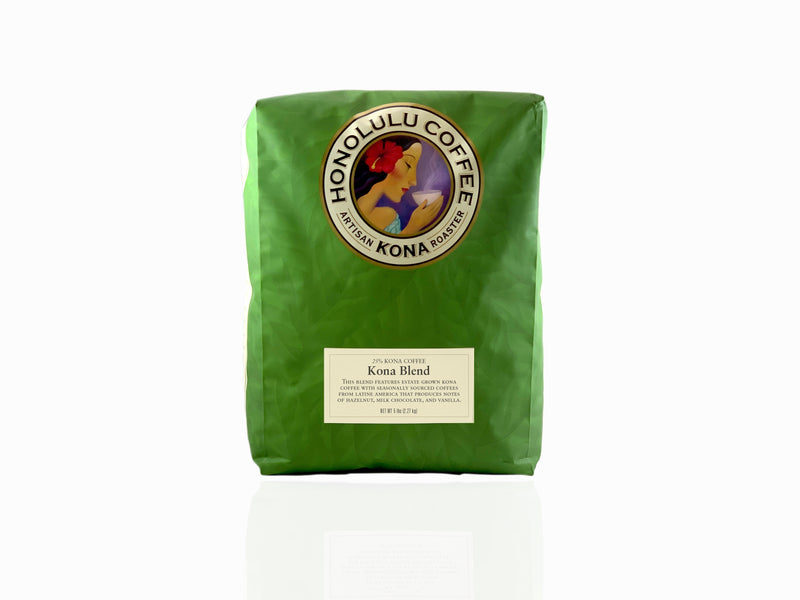 5lb Green Bag of Kona Coffee Blend made with 25% farm grown Kona coffee