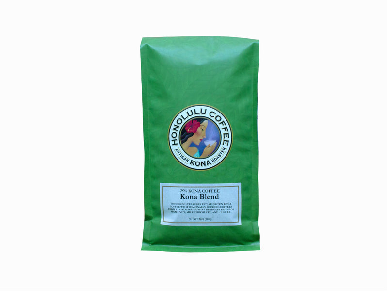 12oz Green Bag of Kona Coffee Blend made with 25% farm grown Kona coffee