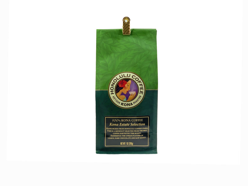 7oz bag of 100% Kona Coffee, Kona Estate Selection. Green bag with the Honolulu Coffee logo