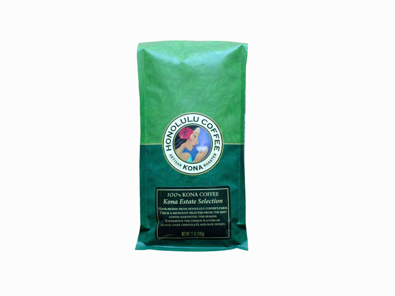12oz bag of 100% Kona Coffee, Kona Estate Selection. Green bag with the Honolulu Coffee logo