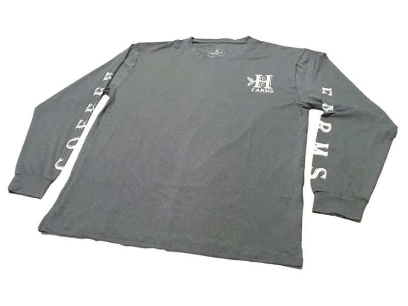 "Grey long sleeve farm shirt from Honolulu Coffee - ""Coffee Farms"" down the sleeves"