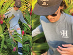 On the farm with the Grey long sleeve farm shirt from Honolulu Coffee