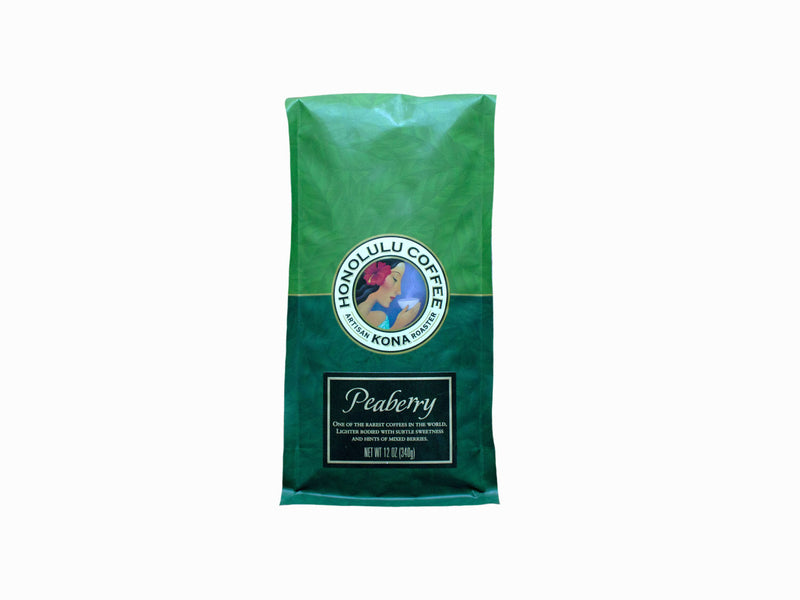 12oz Green Bag of Peaberry Kona Coffee made with 100% farm grown Kona coffee