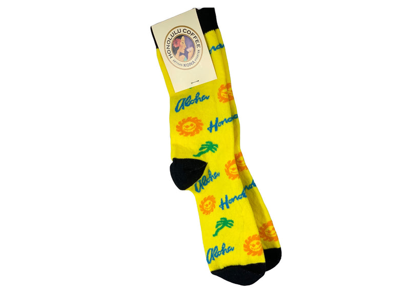 Yellow Aloha Socks