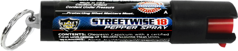 Lab Certified Streetwise 18 Pepper Spray, 1/2 oz Safety Lock Key Ring
