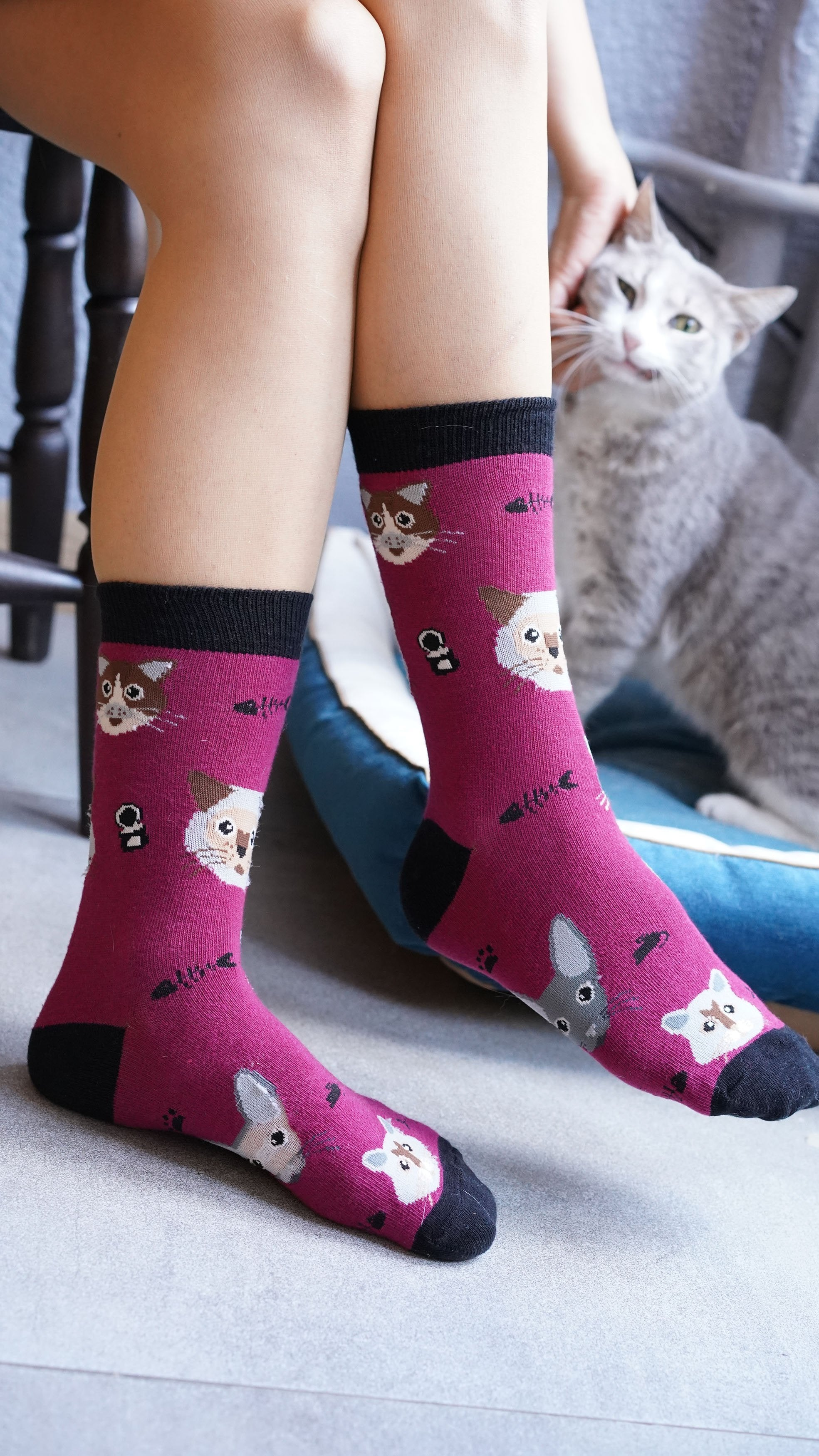 Womens pink cat print socks