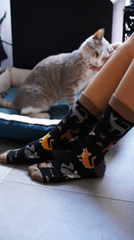 Load image into Gallery viewer, Womens black sock cat print