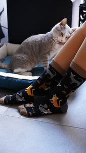 Womens black sock cat print