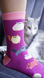 Load image into Gallery viewer, Womens fat cat pink socks