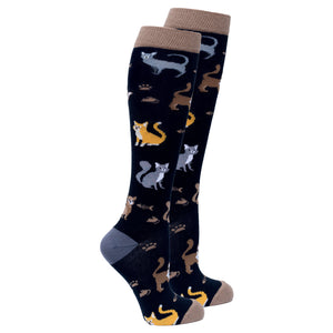 Womens black cat print knee socks