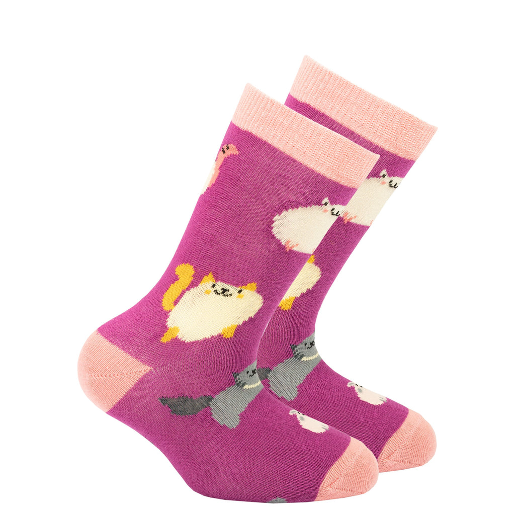 Kids pink fat cat socks