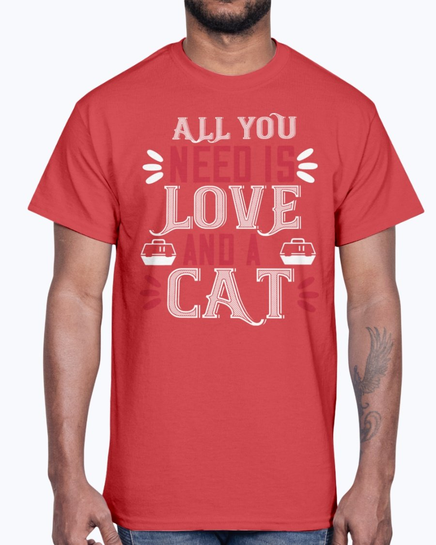All You Need Is Love and a Cat- Cat - Cotton Tee red