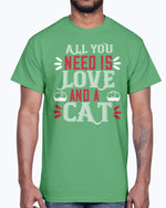 Load image into Gallery viewer, All You Need Is Love and a Cat- Cat - Cotton Tee green