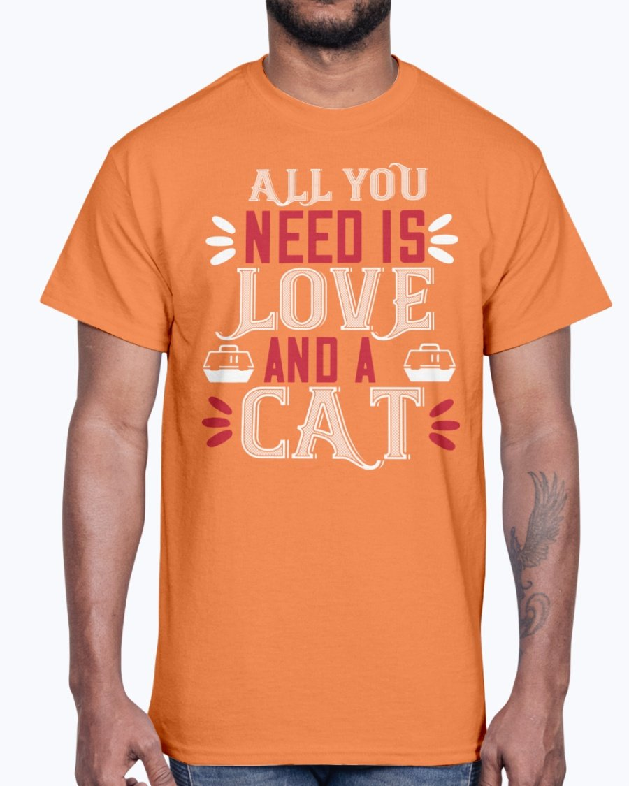 All You Need Is Love and a Cat- Cat - Cotton Tee orange