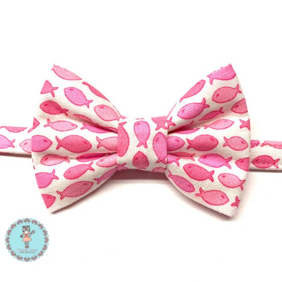 Pink Fish cat bow tie