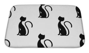 Bath Mat, Black Cat On White Illustration