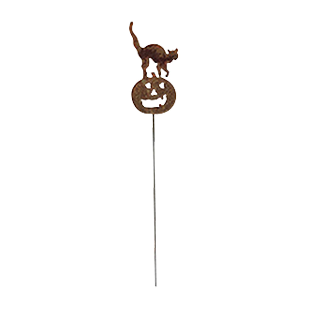 Cat and Pumpkin Rusted Garden Stake.