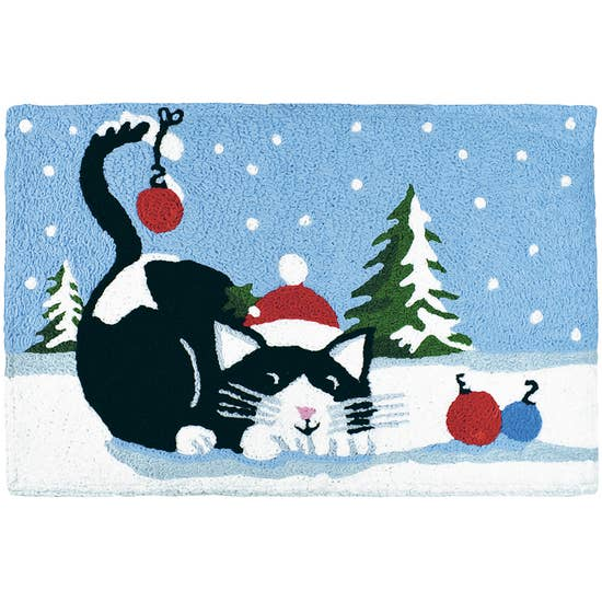 Christmas Cat Accent Rug.