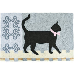 Kitty Walking the Fence cat accent rug.
