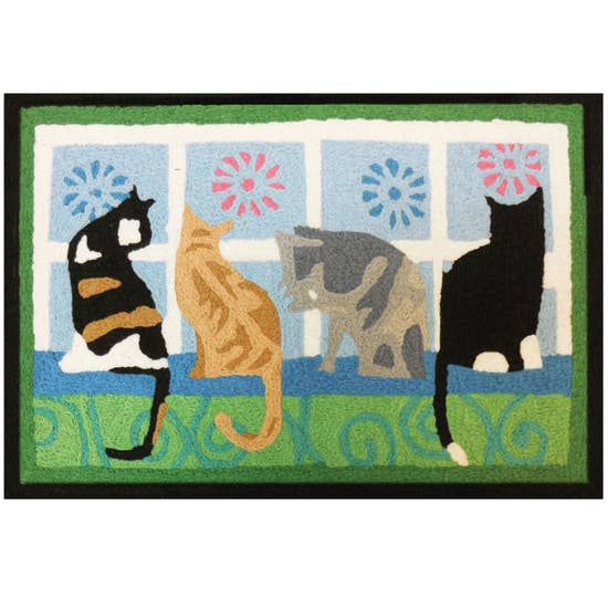 Kitties in the window cat accent rug.