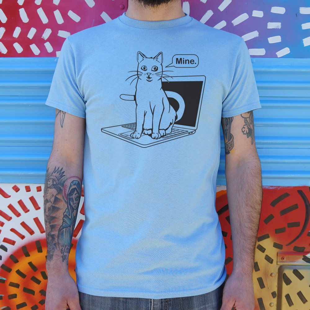 Cat Conquers Laptop T-Shirt (Mens).
