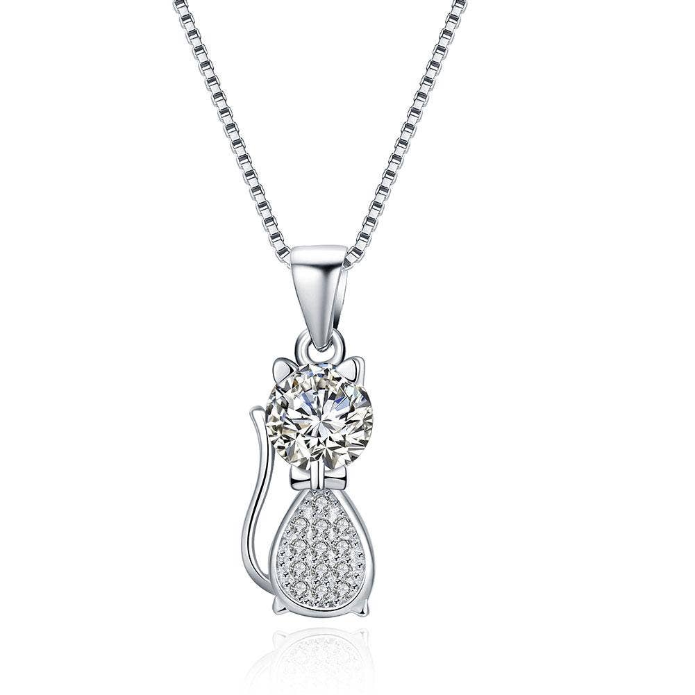 Crystal kitty necklace.