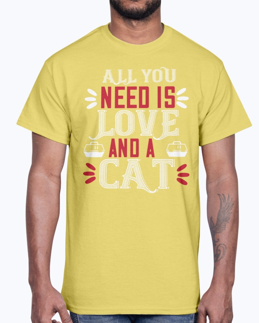 All You Need Is Love and a Cat- Cat - Cotton Tee yellow